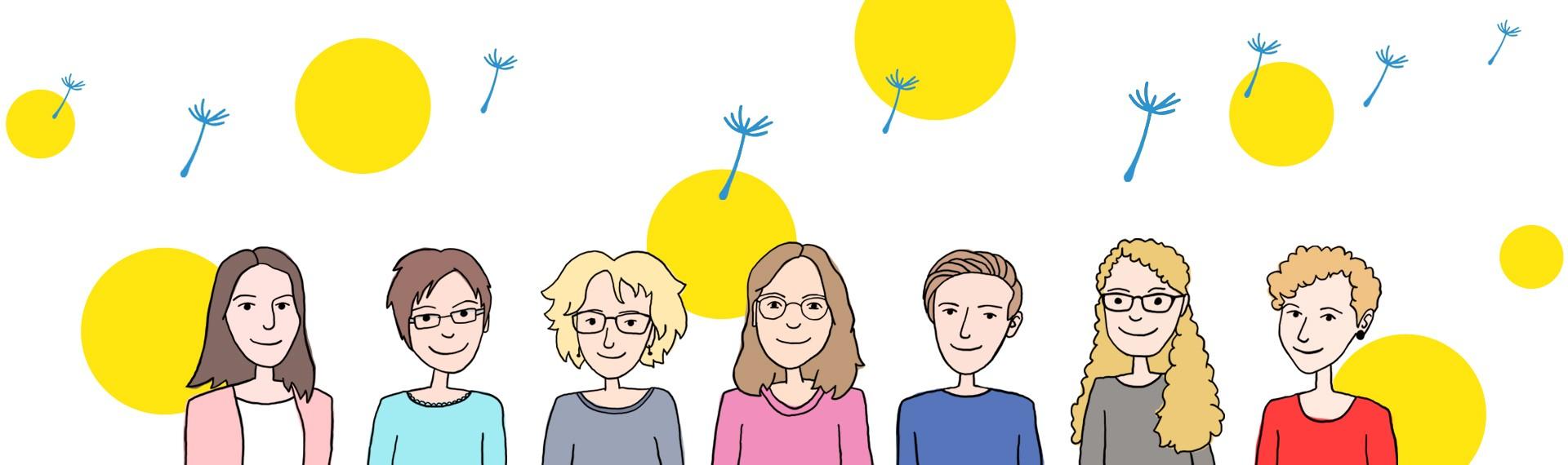 """Illustration """"Die Gründerinnen von HopeLit"""""""